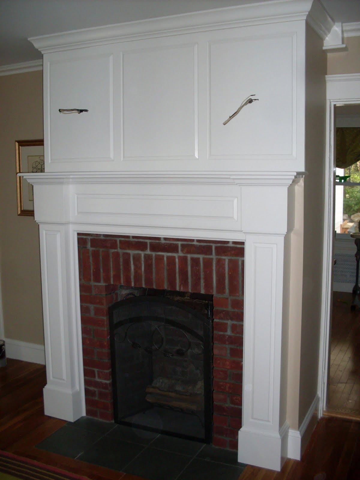 Brick Fireplace Mantel Shelf More mantel fun