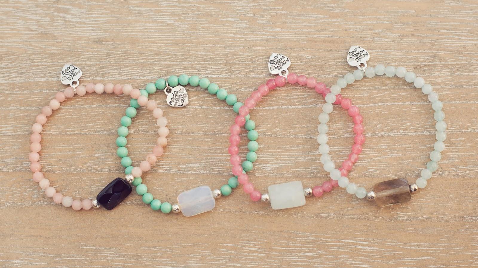 Pulseras de piedras y plata opalo, onix, jade, piedra luna, cuarzo ahumado amazonita