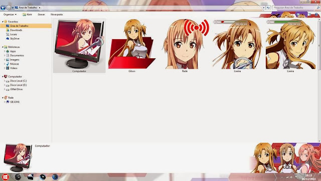 "Tema Sword Art Online "" Asuna Yuuki "" Windows 7"