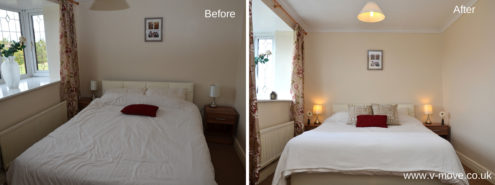 Bedroom before and after to sell