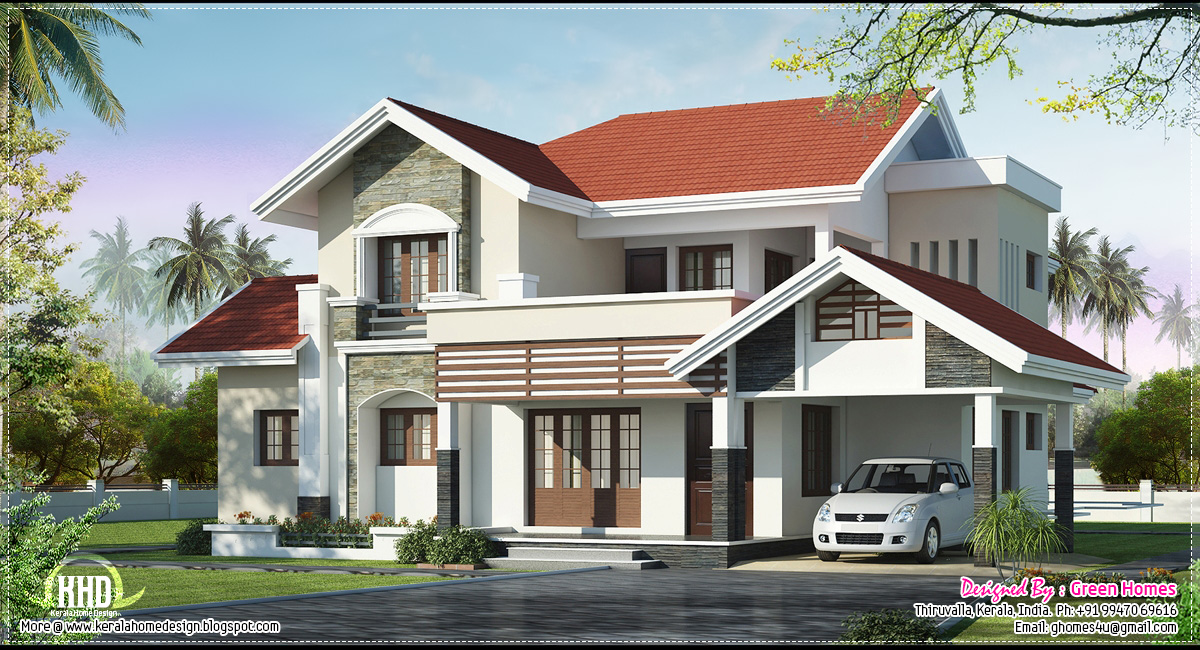 Beautifully designed luxury villa exterior kerala home for Beautiful villas images