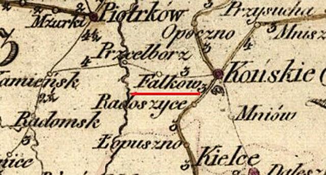 Karta dróg pocztowych Królestwa Polskiego 1820 - fragment. W: FBC, Biblioteka Narodowa, sygnatura ZZK 1646.