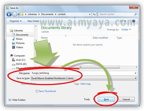 Gambar: Menyimpan dokumen dalam format Excel Macro Enabled  Workbook (*.xlsm)