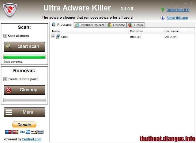 Dowload Ultra Adware Killer – phần mềm xóa sạch Adware