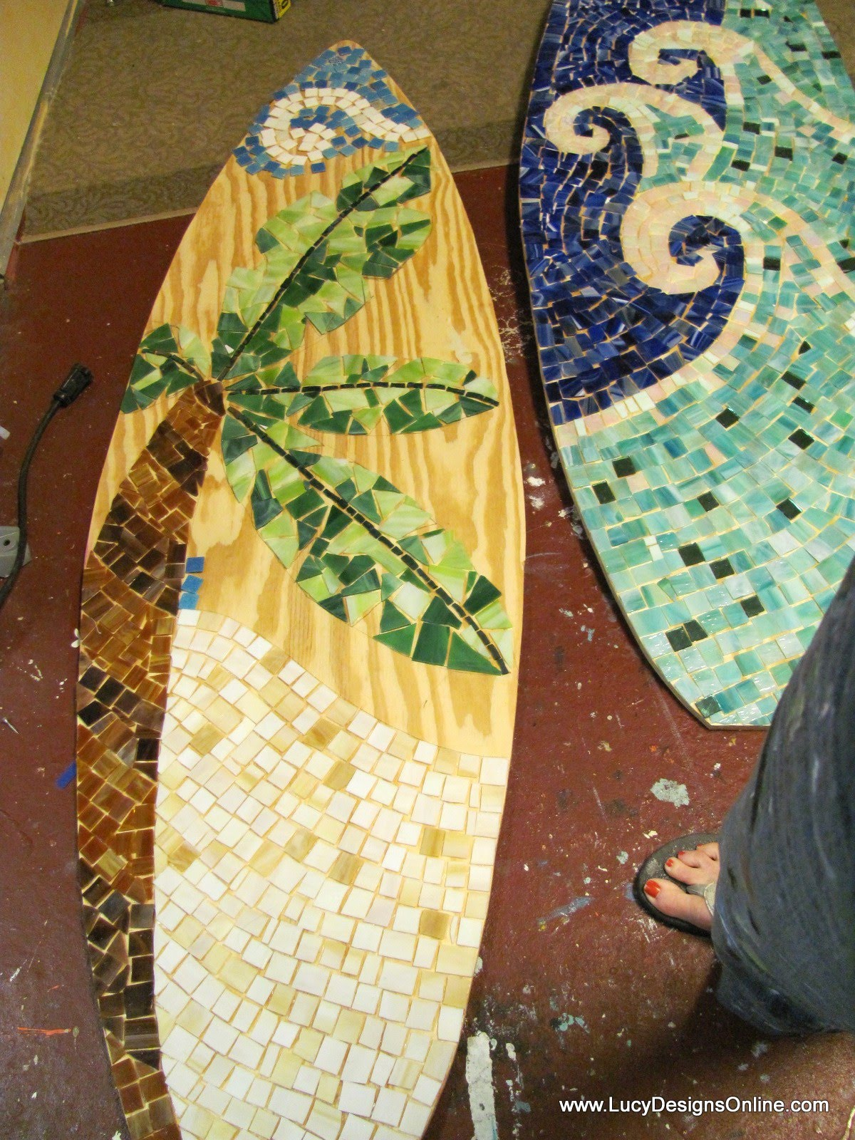 stained glass mosaic surfboards