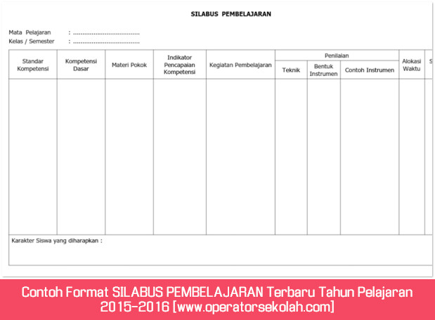 Contoh Format SILABUS PEMBELAJARAN Terbaru Tahun Pelajaran 2015-2016 [www.operatorsekolah.com]