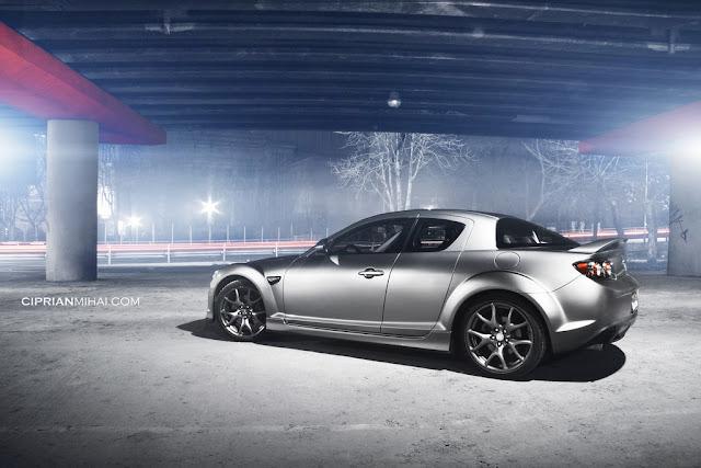 Mazda RX-8, silnik wankla, samochody, rotary, wirujący tłok, zdjęcia nocą, ciekawe samochody