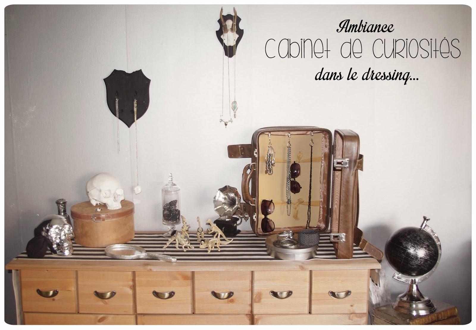 petit coin d co ambiance cabinet de curiosit s dans le dressing chez cette fille. Black Bedroom Furniture Sets. Home Design Ideas