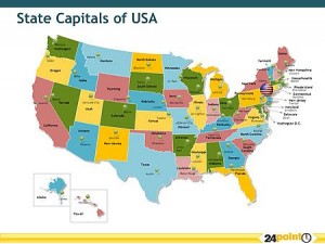 Map Of The United States With Capitals And Major Cities My blog