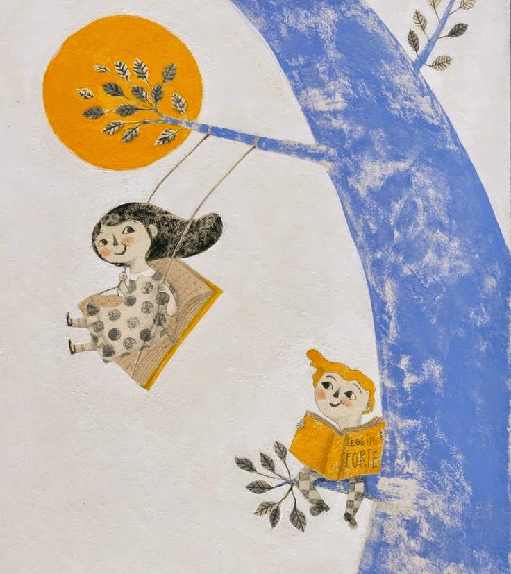 two kids swinging in a blue tree illustration by Alessandra Vitelli