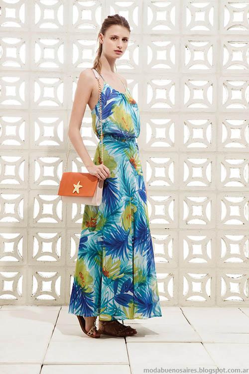 Moda 2015: Colección Clara primavera verano 2015. Maxivestidos estampados 2015.