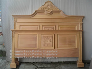 Raw unfinished wooden mahogany bed