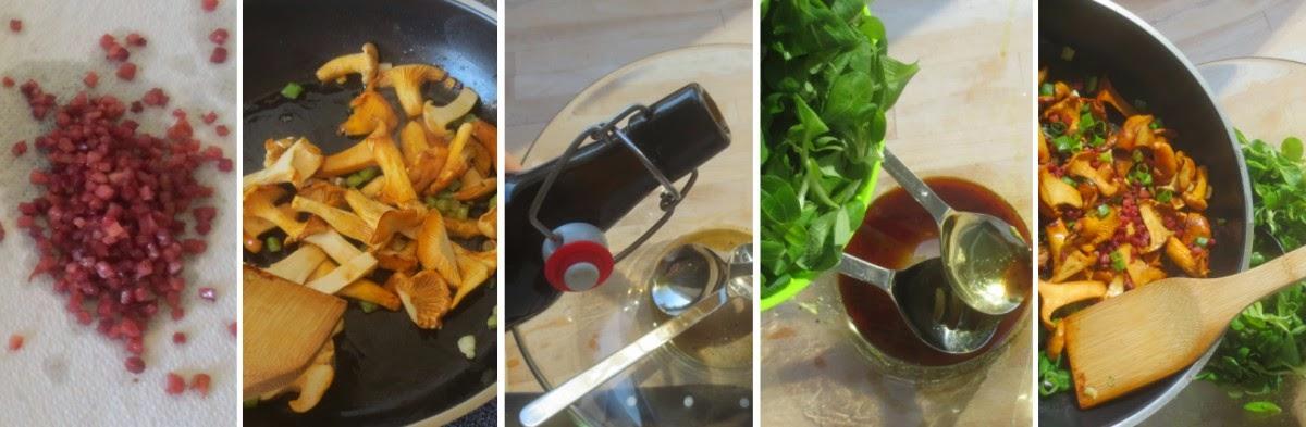 Zubereitung Feldsalat mit Pfifferlingen