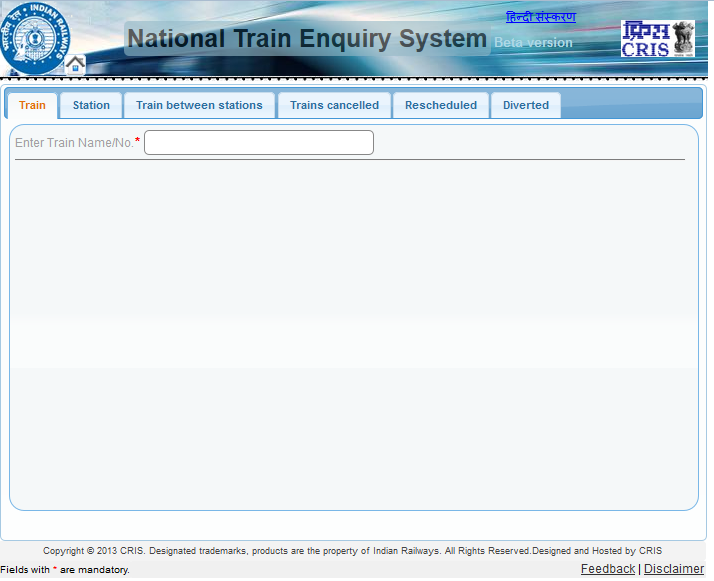 Indian Railways New National Train Enquiry System