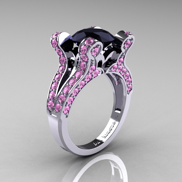 ClassicEngagementRing Blog French Vintage 14K White Gold 3 0 CT Black Di