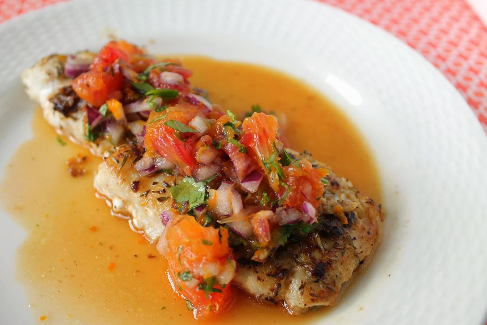 Sear-Roasted Haddock with Blood Orange Salsa