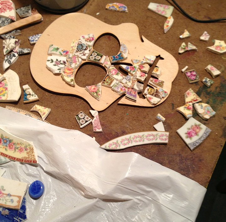 spent most of yesterday working on my china mosaic skulls