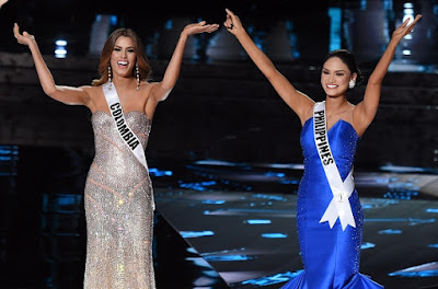Miss Columbia and Miss Philippines during the crowning moment