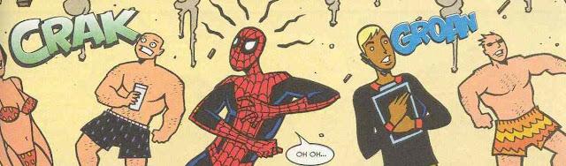 spiderman a punto de ser derribado por las hordas playeras