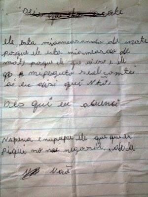 Menina de 8 anos relata abuso sexual por meio de carta (Foto: Polícia Civil/Divulgação)