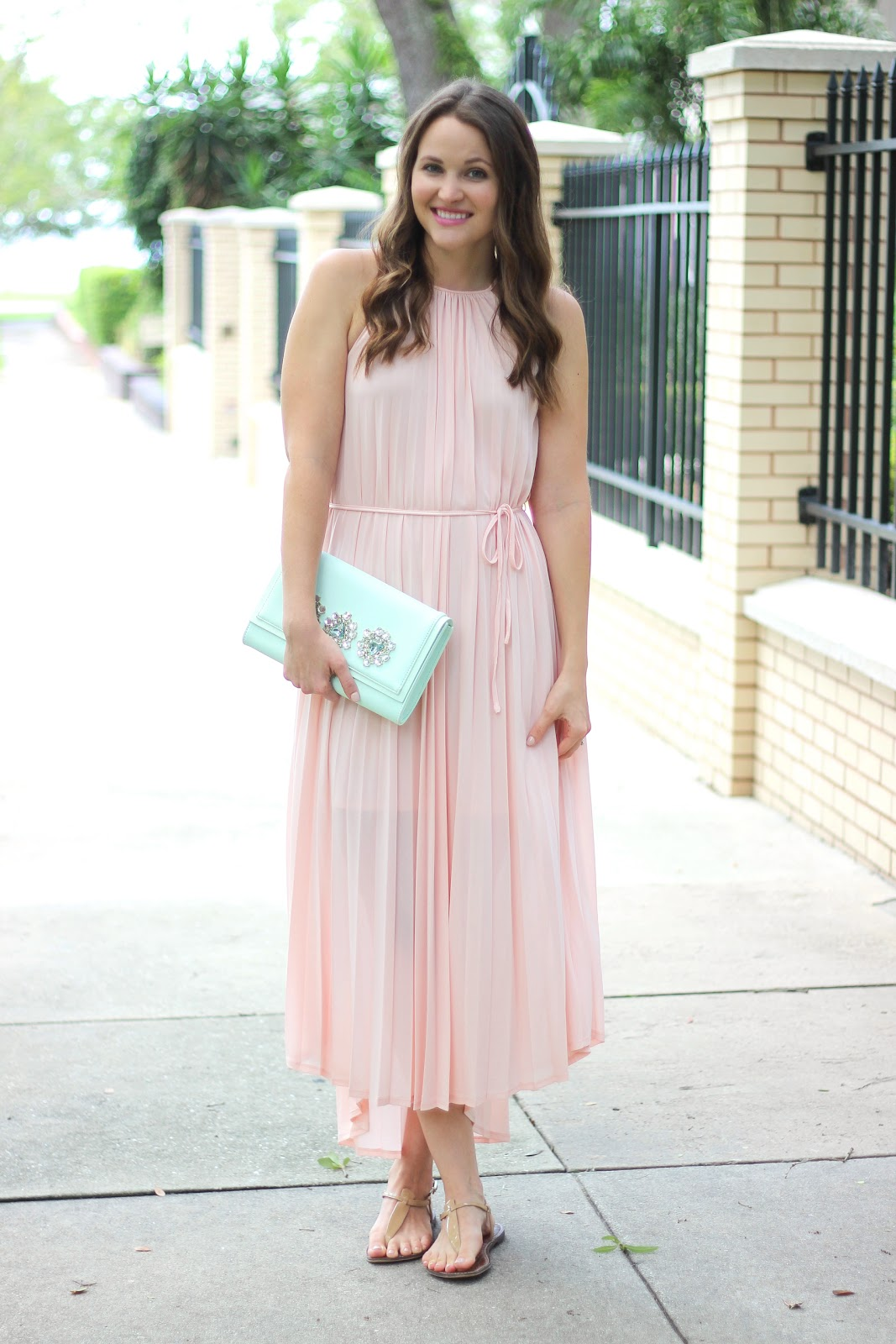 Mint and pink maxi dress