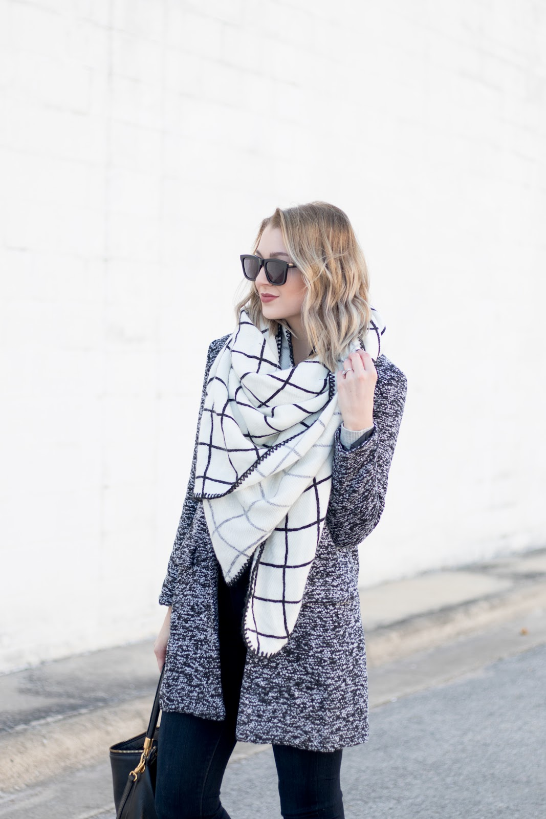 Neutral blanket scarf + hat