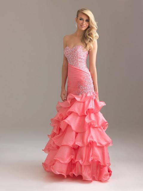 pink ruffles prom dresses