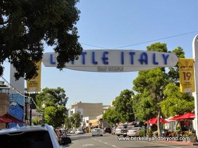 neon street sign in Little Italy, San Diego, California