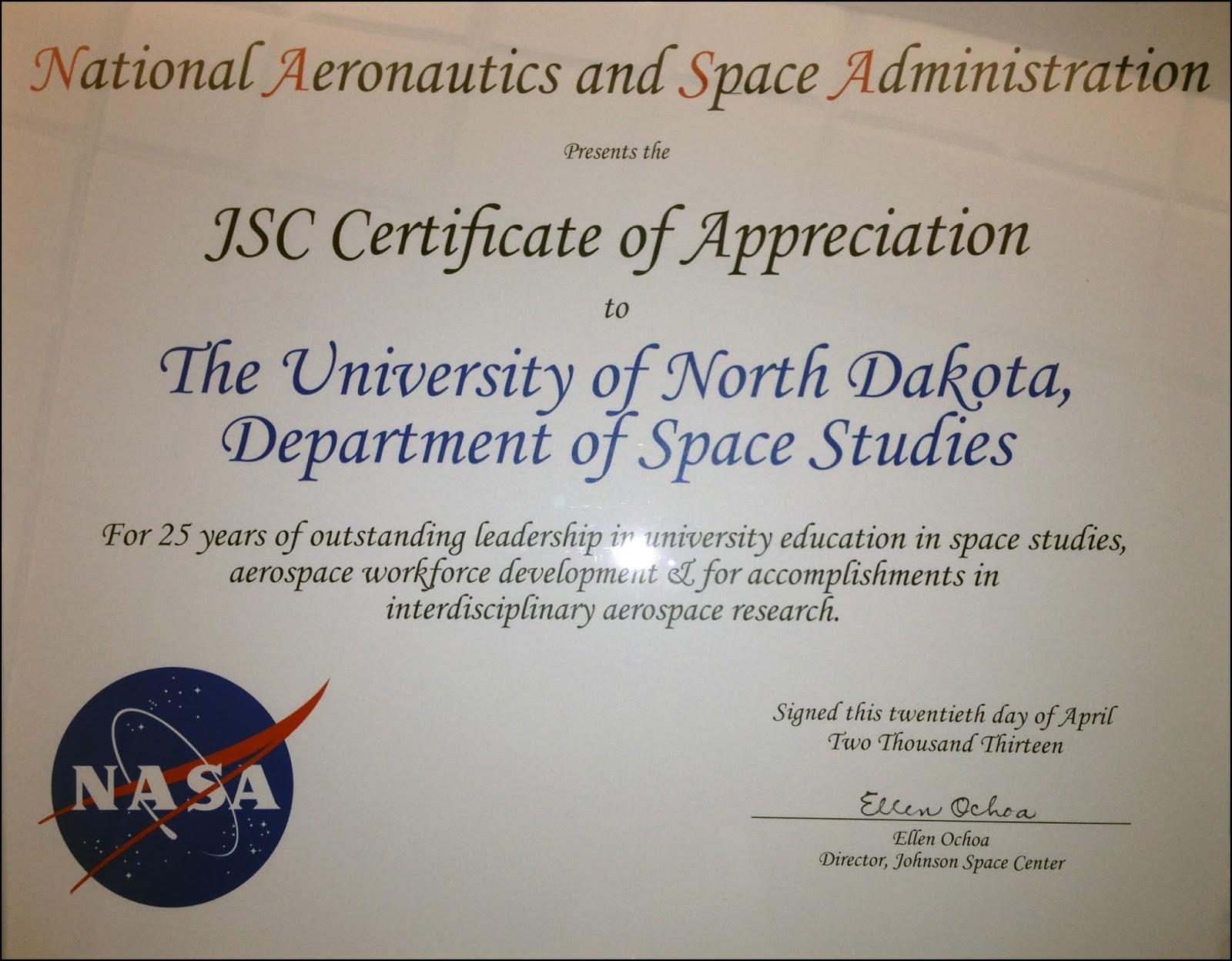 nasa employee certificate - photo #17