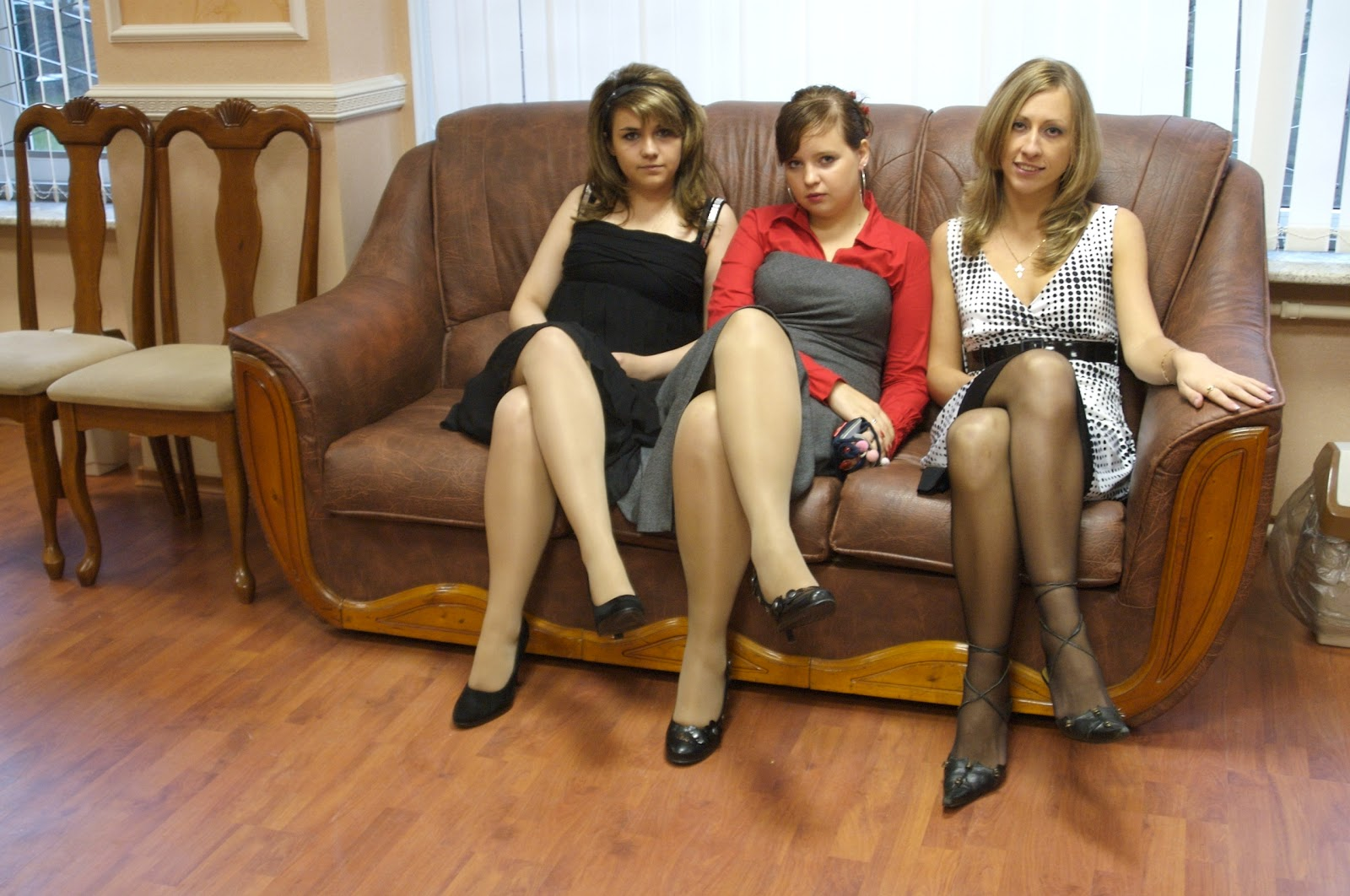 Her Young tight skirt models pantyhose look those big