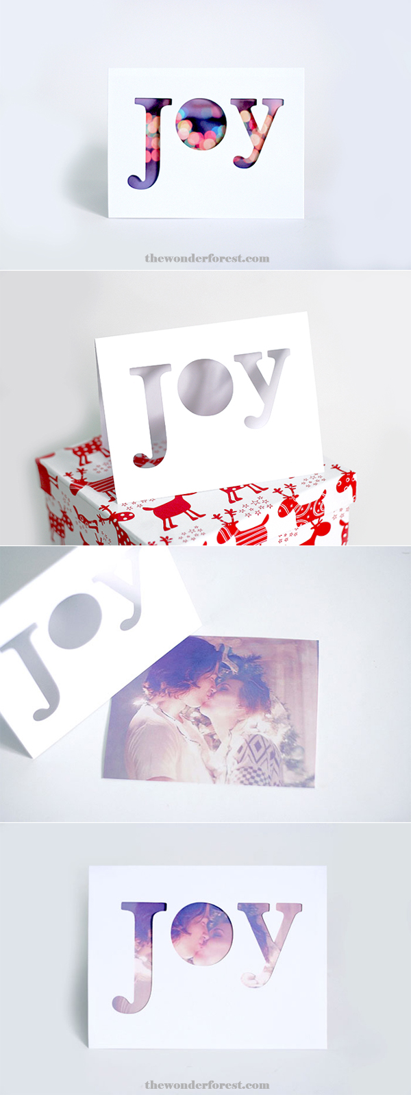 cut out letter card with personalised photo underneath