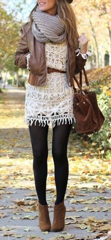 knit + leather + lace