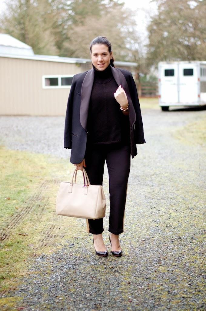 Helmut Lang turtleneck sweater and Isabel Marant blazer.