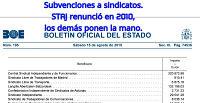 SUBVENCIONES A SINDICATOS OTORGADAS EN 2014