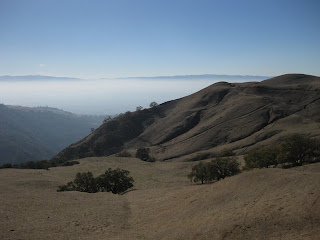 Hills on the back side of Sierra Road, with Santa Cruz mountains rising above the mist in the valley