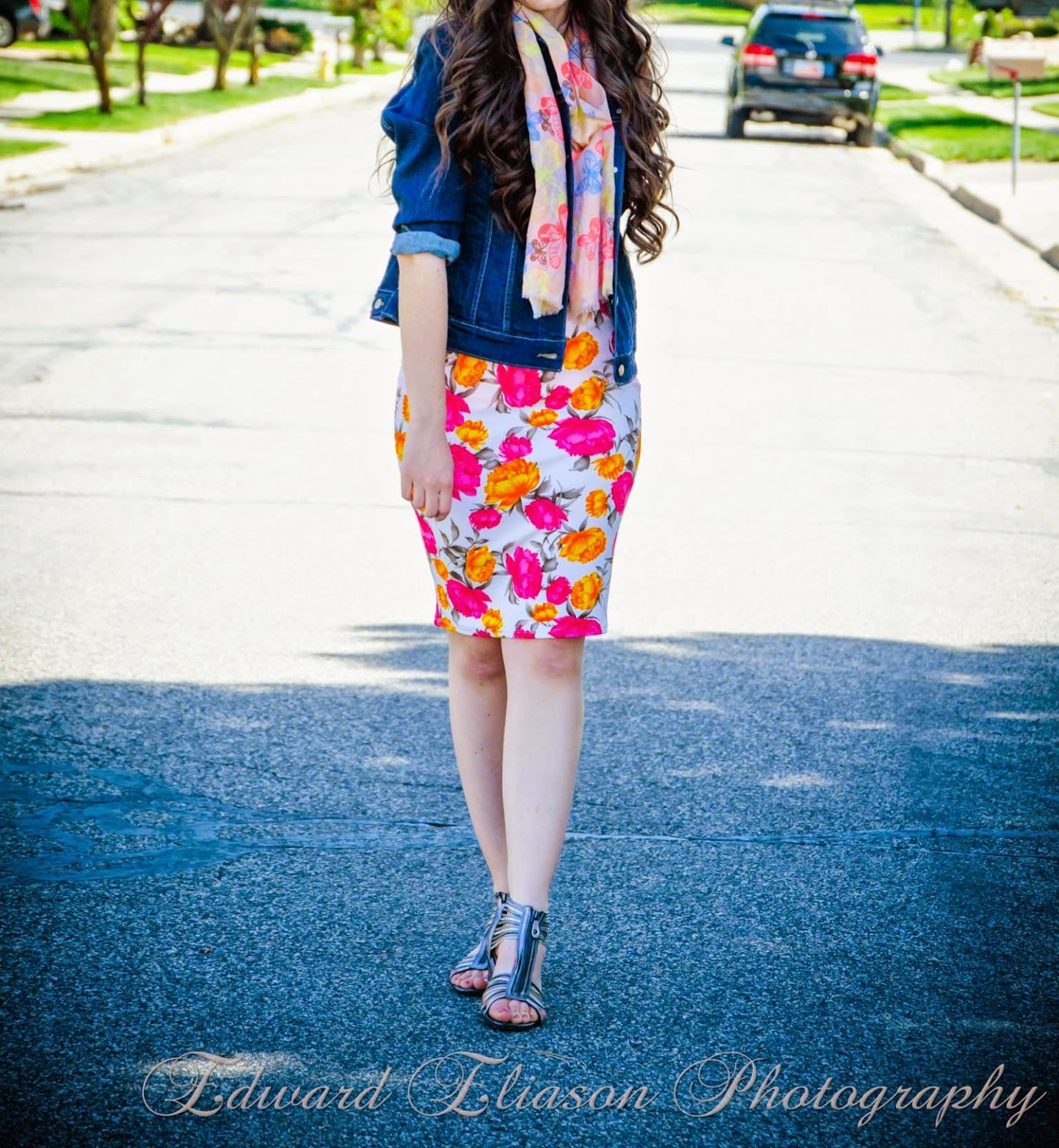 impressions boutique, floral skirt, pink and yellow florals, flower skirt, jean jacket, jcpenney's, jcp, butterfly scarf, gladiator sandals, silver gladiator sandals, casual outfit,