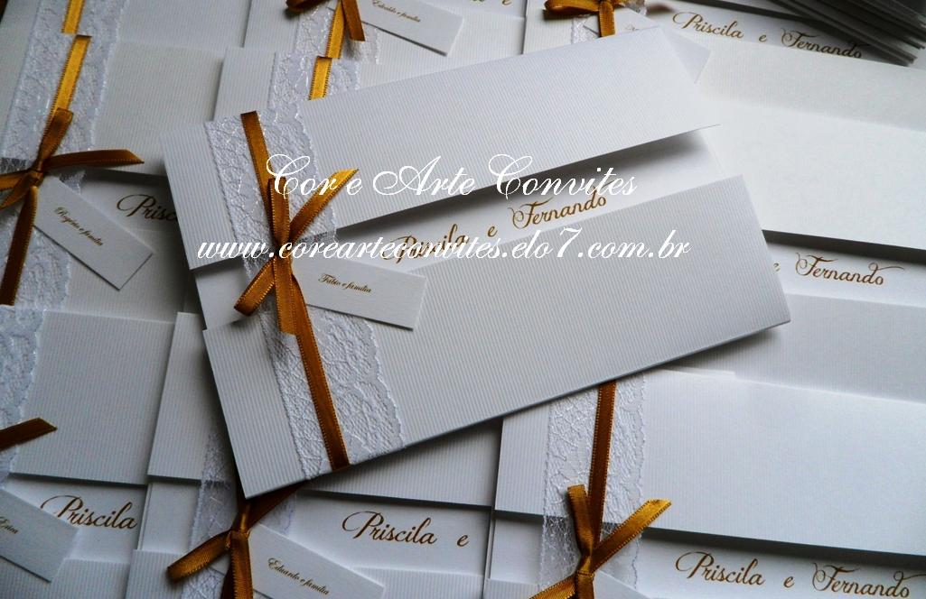 Cor E Arte Convites E Lembranças Convite De Casamento Renda