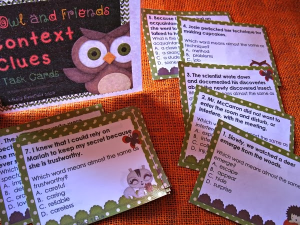 http://www.teacherspayteachers.com/Product/Context-Clues-Task-Cards-1069565