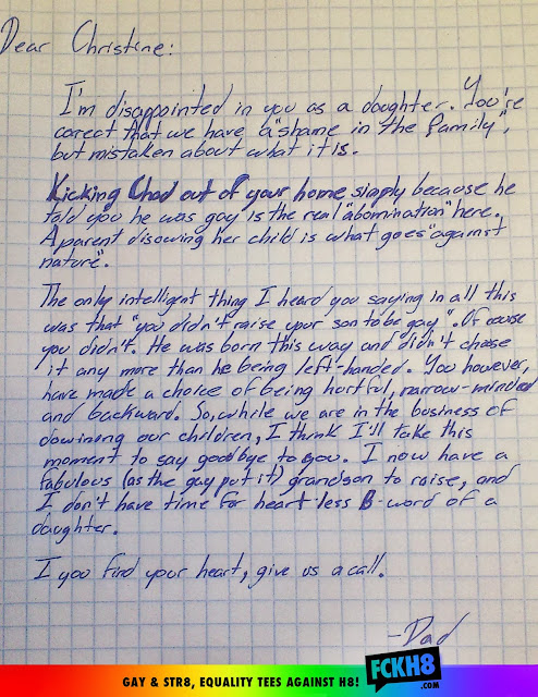 Letter from a Dad to her Homophobic Daughter, Carta de um Pai para a sua filha homofóbica