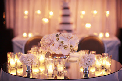 TABLE WEDDING, mirrors, candle
