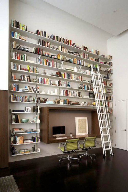 Home Library Decorating Ideas Part - 36: Home Library Shelf Creative Ideas