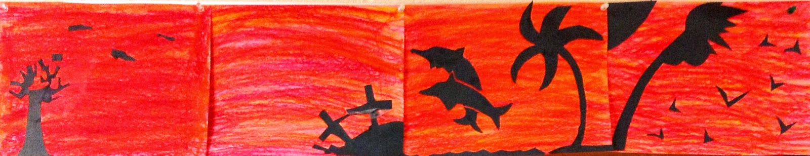 Fourth Grade Warm Cool Colors Silhouette Art Lesson