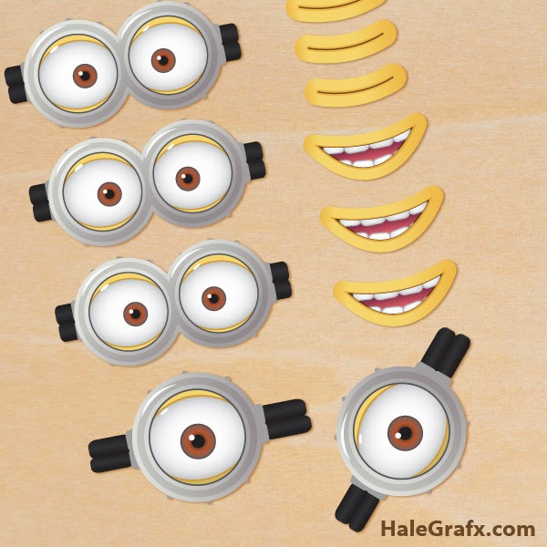 Gafas u Ojos de Minions y Anti Minions para Imprimir Gratis