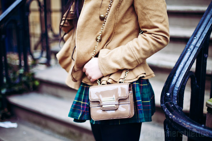 urban outfitters ruffled wool camel coat, ruffles, plaid old navy scarf, plaid mini JACH pleated skirt, ribbed turtleneck sweater tracy M, z spoke zac posen chain mini tan handbag purse, new york, nyc streetstyle, fashion blog, dslr photography, diya liu