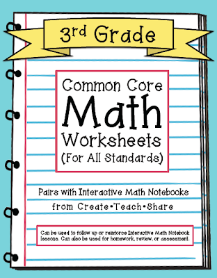 Common Core Worksheets (3rd Grade Edition) | Math notebooks ...