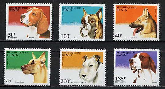 1995年ベニン共和国 ビーグル ボクサー ジャーマン・シェパード  グレート・デーン フォックス・テリア ポインターの切手