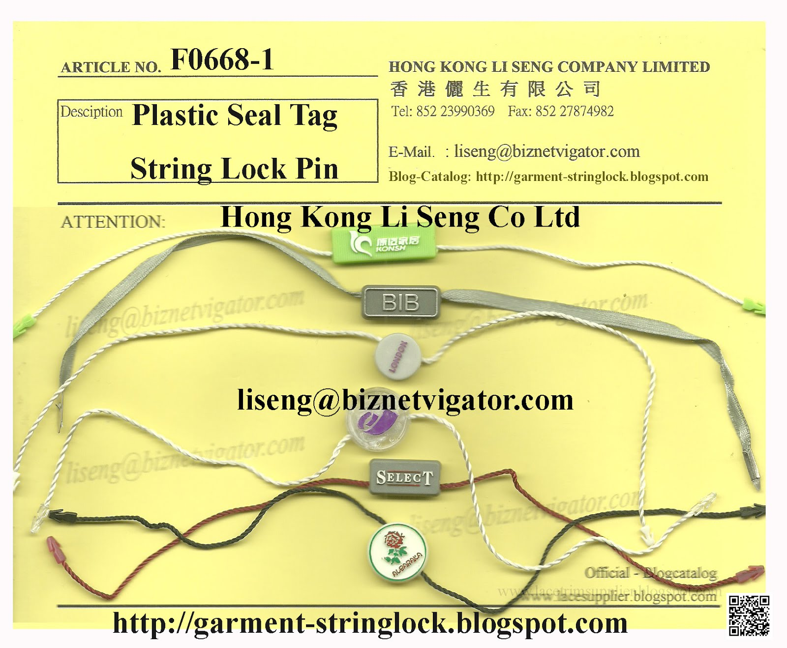 Plastic Seal Tag ( Hang Tag Cord Locking ) Pin
