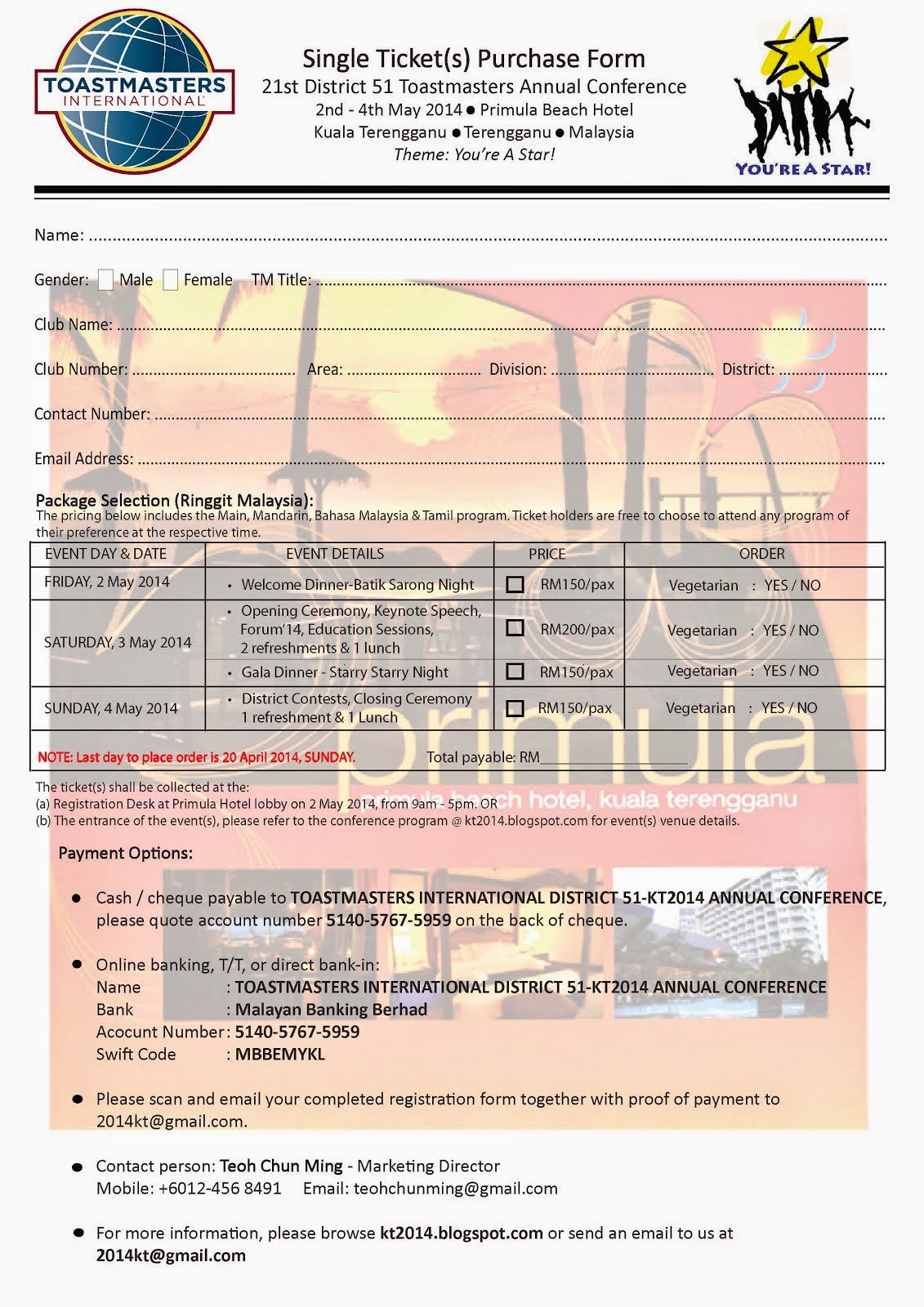 Single Tickets Purchase Form