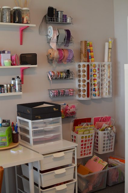 drawers, some bag organizers and trash cans hung on the wall to keep it all organized :: OrganizingMadeFun.com