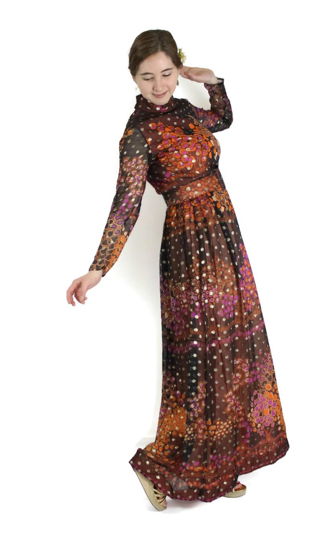 1960s Metallic Silk Dress Maxi Length